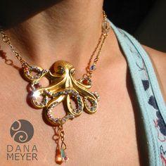 Glamourpus Octopus Necklace shown on model