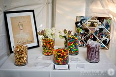 "The drawing is a picture the bride drew of herself ""in her wedding dress"" when she was seven. Candy Bar Wedding, Wedding Reception, Candy Bars, Groom, Photos, Pictures, Weddings, Thoughts, Table Decorations"
