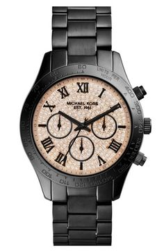 love this #black Michael Kors chronograph watch http://rstyle.me/n/m5iz9r9te