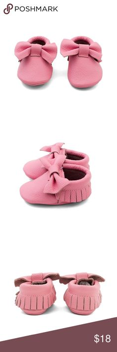 MAC&LOU BOW BABY LEATHER MOCCASINS PINK LEMONADE MAC&LOU BOW BABY LEATHER MOCCASINS PINK LEMONADE MAC&LOU Shoes Moccasins