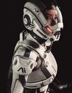 Mass Effect Andromeda - - Mass Effect Andromeda Cyberworld Mass Effect Andromeda Cyberpunk Character, Cyberpunk Art, 3d Character, Character Concept, Sara Ryder, Space Armor, Apocalypse, Mass Effect Universe, Futuristic Armour