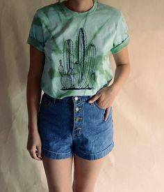 e27d44aaa6 Tye Dye Cactus Shirt by MermaidHex on Etsy Bordado Contemporâneo