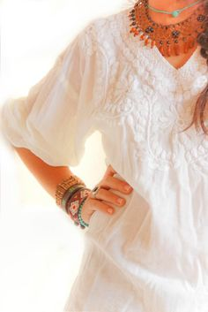 Ethnic off white embroidered Mexican blouse