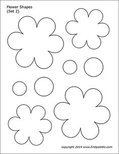Ten free printable flower shape sets to use as craft patterns, coloring pages, or for flower-themed crafts and learning activities.