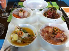 Cebiche Tasting (top left, CCW): Clásico, Nikei, Mixto, Chalaco | Yelp