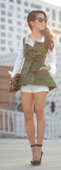♥Casual Chic StreetStyle ♥ Army Trench Vest by Wendy's Lookbook