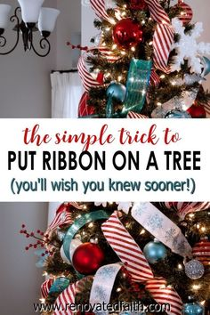 This STEP-BY-STEP tutorial with video shows you how to add cascading ribbon on Christmas trees. Waterfall ribbon Christmas trees allow you to add any combinations of ribbon & mesh colors to customize your tree with satin or even flannel. Ideas & DIY instructions on how to make ribbon garland for Christmas trees for any Christmas décor style including farmhouse, elegant or traditional holiday décor Elegant Christmas Decor, Christmas Décor, Coastal Christmas, Holiday Decor, Christmas Tree Ribbon Garland, Christmas Wreaths, Tree Decorations, Christmas Decorations, Winter Wonderland Decorations