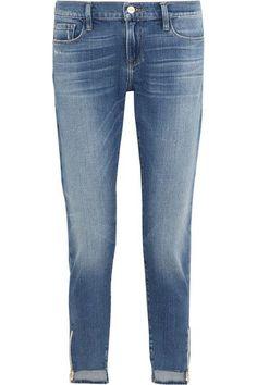 FRAME - Garcon Distressed Mid-rise Slim Boyfriend Jeans - Mid denim - 23