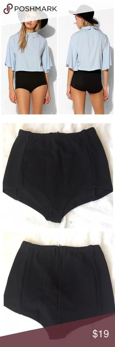 URBAN OUTFITTERS KNIT KNICKER PINUP SHORT SHORTS Cheeky pin-up short with rounded, high legs from UO's classically nostalgic label, Cooperative. Cut in a super-stretchy knit silhouette. Zips in back. $42 retail price new without tag inner label marked perfect condition. Color: solid black only other color shown for style reference Urban Outfitters Shorts