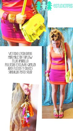 vestido lycra rayado + pulseras esclavas + maletin taplow fluo + aros + sandalias pisco.