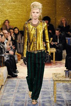 """Chanel --- Prefall 2011 // """"The season's theme, Paris-Byzance, Lagerfeld explained, was inspired by the Empress Theodora and the lost culture of Byzantium. In typically rapid-fire mode, he noted: """"Theodora was a circus artist who became empress, like Chanel, who was a little singer and became a fashion empress."""""""