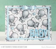 "using My Favorite Things ""Adorable Elephants"" stamp and dies Karten Diy, New Baby Cards, Mft Stamps, Baby Shower Cards, Marianne Design, Animal Cards, Card Making Inspiration, Style Inspiration, Copics"