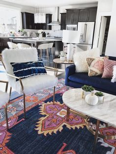 home decor chic Modern Boho Chic Electric Living Room Gypsy Tan, Boho Rug kismet Ping Navy rug, Marble Coffee Table, Blue Couch, gold kitchen Stools Blue Couch Living Room, Boho Chic Living Room, Living Room Kitchen, Living Room Modern, Rugs In Living Room, Living Room Interior, Living Room Designs, Gypsy Living, Small Living