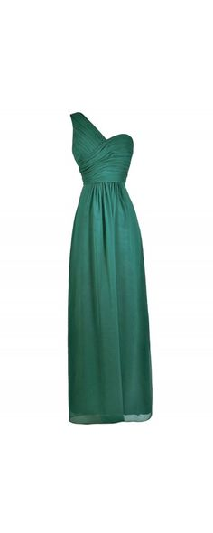 Lily Boutique Dramatic Simplicity One Shoulder Chiffon Maxi Dress in Emerald Green, $74 Emerald Green Bridesmaid Dress, Green Maxi Dress, One Shoulder Forest Green Maxi  www.lilyboutique.com