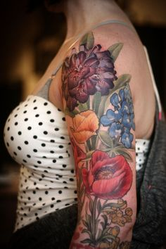 tattoos half sleeve color tattoo poppies girls with tattoos tattooed women floral tattoo rhododendron botanical illustration feminine tattoo. Great Tattoos, Trendy Tattoos, Body Art Tattoos, Tattoos Pics, Tattoos Gallery, Awesome Tattoos, Unique Tattoos, Tattoos For Women Half Sleeve, Best Sleeve Tattoos