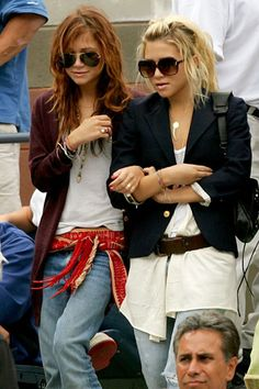 The Olsens enroll at NYU in 2004, and their signature style starts to emerge: tribal-inspired accessories, tattered denim, loads of jewelry, and, of course, oversize sunglasses.