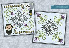 Nevermore biscornu cross stitch pattern by cloudsfactory on deviantART
