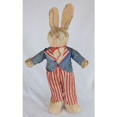 1940s American Patriotic Bunny Rabbit Doll with Uncle Same Outfit