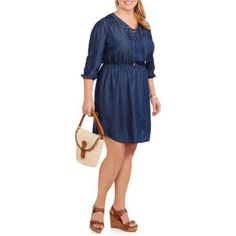 Plus Size Faded Glory Women's Plus Tie Up Woven Shirt Dress, Size: 4XL, Gray
