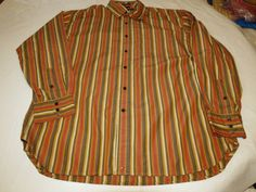 Tommy Hilfiger 80's 2 Ply Fabric strp Mens long sleeve button up shirt XL EUC @ #TommyHilfiger #ButtonFront