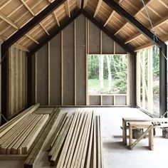 Nice to be able to store the wood in a dry location for once… Nice to be able to store the wood in a dry location for once… house construction Metal Barn Homes, Metal Building Homes, Pole Barn Homes, Building A House, Shed Homes, Cabin Homes, Cabin Design, Tiny House Design, Living Haus
