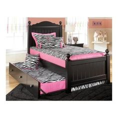 Signature Design by Ashley B15052538351B10082 Jaidyn Collection Twin Size Poster Bed with Trundle Turned Ball Finial - Walmart.com