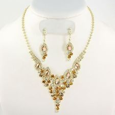 DANGLE BROWN RHINESTONE FORMAL NECKLACE AND EARRING SET