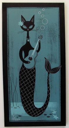 EL GATO GOMEZ PAINTING RETRO 1950S CAT KITSCHY MERMAID UKULELE HAWAII TIKI POP in Paintings   eBay