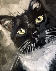 Original loose, sketchy oil painting of a Tuxedo cat. 11 x 14 by Diane Irvine Armitage.