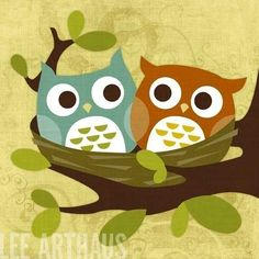 Here's just one of Lee Arthaus' many incredibly fab owl prints.