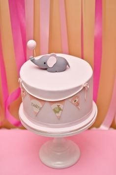 Pink Baby Elephant Shower - Pretty My Party Elephant Baby Showers, Baby Elephant, Elephant Party, Elephant Theme, Fondant, Torta Baby Shower, Elephant Cakes, Sugar Cake, Baby Birthday