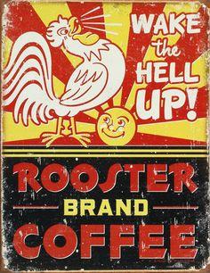Rooster Brand Coffee Distressed - Plåtskylt på AllPosters.se