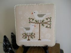 Completed Snow Birds Cross Stitch Finished Cross by CraftyMJC
