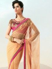 Plush apricot cutwork blouse saree: KSR2332