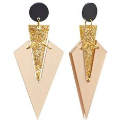 Toolally Mini Art Deco Drop Earrings ($61) ❤ liked on Polyvore featuring jewelry, earrings, white gold jewelry, art deco jewelry, deco jewelry, tools jewellery and triangle drop earrings