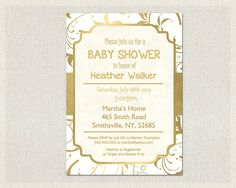 Gold and White Baby Shower Invitation  by PixieBabyShower on Etsy