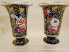 An Antique Pair Spode porcelain floral richly painted Vases (England)