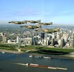 Boeing Photo F-4 Phantom II's over St. Louis