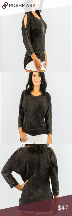 Crochet Open Shoulder Sweater Black An acid wash charcoal open shoulder sweater. Crochet detailing around this charcoal black open shoulder, and a loose comfortable fit. Fall in love with this charcoal sweater and it's soft material. Able USA Sweaters Crew & Scoop Necks