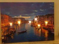 Stunning Italian/Venice Twilight Scene Light Up 3 LED canvas/Christmas lights