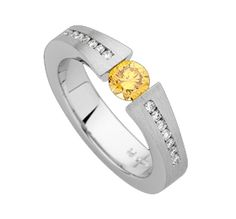 Outshine the sun with a beautiful natural yellow tension set diamond by MDTdesign (C910)