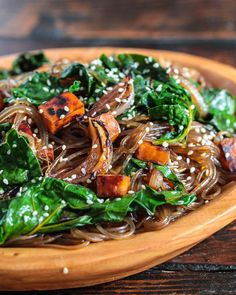 Vegetarian Korean Japchae Noodle Recipe! Packed with super foods. From Steamy Kitchen