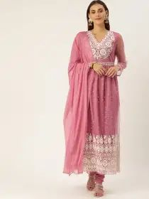 House of Pataudi Women Pink & White Embroidered Kurta with Churidar & Dupatta