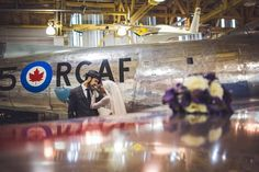 Love the Calgary Aerospace Museum for wedding portraits! By Calgary wedding photographer Anna Michalska Photography. See more in the article link!
