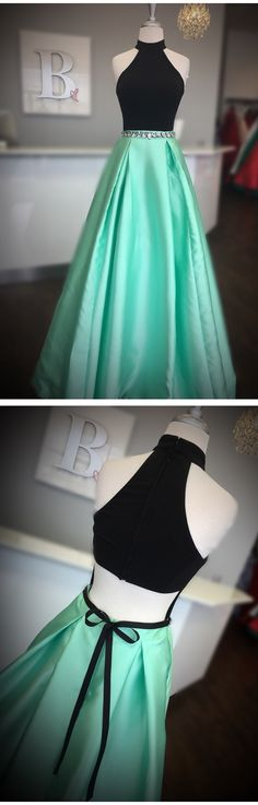high neck two piece black and mint green long prom dress ball gown
