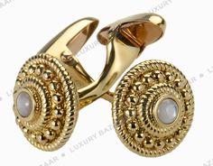 Carrera y Carrera  - Yellow Gold & Pearl Paso Doble Cufflinks.