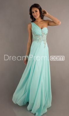 2014 Floor-length One Shoulder Beading A-Line Chiffon Prom Dresses @Kaelin Zawilinski Summers