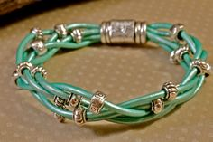 Green Mint Leather Bracelet Multi Strand Silver Bead by amyfine, $52.00