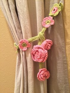 Crochet Curtain Ties (1 pair) by JinesCrafts on Etsy