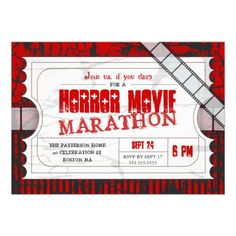 Movie Ticket Horror Movie Party Admission Invite... I like the idea of tickets for the invitations.